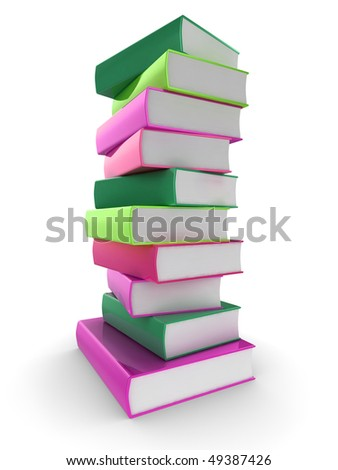 3d illustration of a pile of shiny colorful (colourful) books - stock photo