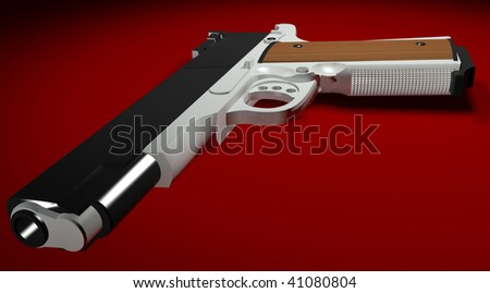 3D illustration of a pistol