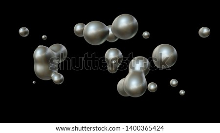 3D illustration of a plurality of drops of mercury in zero gravity, in space coalesce and disintegrate. The idea of unity, harmony and disorder. ZD rendering, futuristic background.