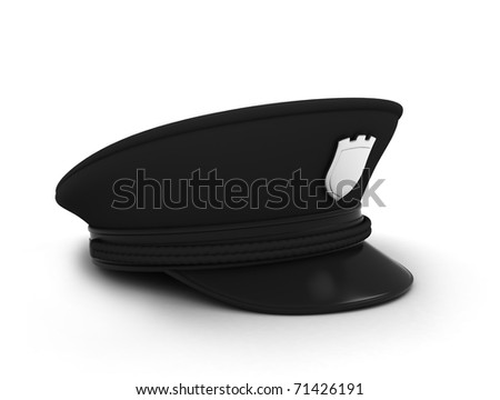 3D Illustration of a Police / Security Guard Cap - stock photo