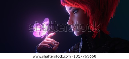 3d illustration of a portrait of girl looking at the glowing pink butterfly landed on her finger in night scene. Young cyberpunk woman with short red hair in black leather jacket, fingerless gloves. Foto stock ©