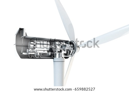 3d illustration of a power turbine isolated on white background