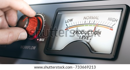 3D illustration of a production dashboard with hand turning a red knob. Concept of correlation between workflow and productivity. Composite image between a hand photography and a 3D background. #733669213
