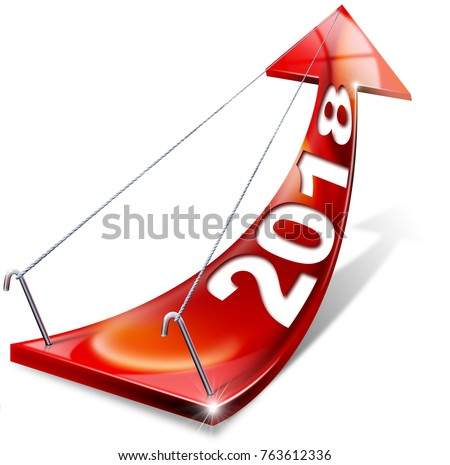 3D illustration of a red arrow with year 2018 tending upward. Concept of economic success. Isolated on white background
