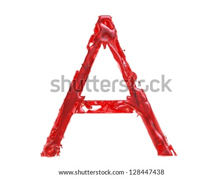 3d illustration of a red plastic letter A on white background