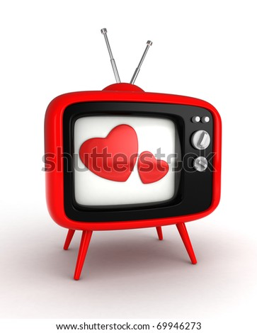 3D Illustration of a Retro Television Set with Hearts Flashing From the Screen