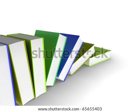 3d illustration of a row of books