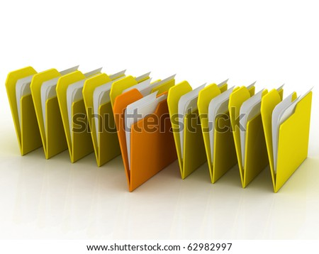 3d illustration of a row of folders - stock photo