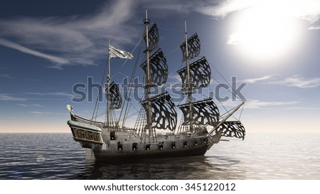 3D illustration of a sailing boat #345122012