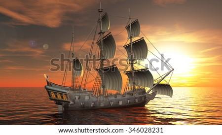 3D illustration of a sailing boat #346028231