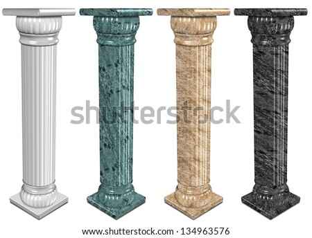 3d illustration of a set of marble columns / Marble columns