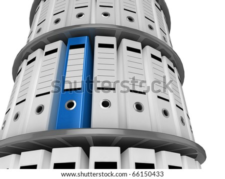 3d illustration of a shelves of files, with one blue folder standing out