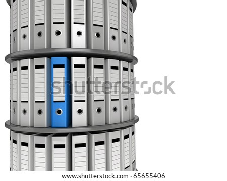 3d illustration of a shelving unit of files, with one blue folder standing out