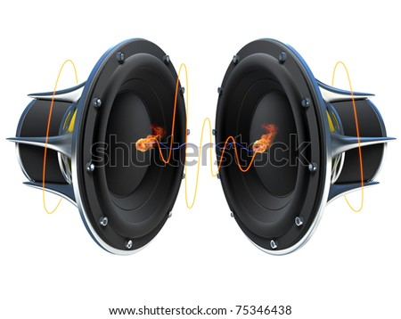 3d illustration of a simple audio speaker sitting on a dark surface with glowing orange sound waves emitting from it - stock photo