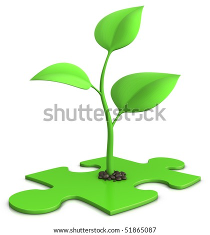 3d illustration of a small plant isolated on white - growth concept