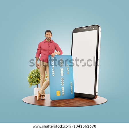 3d illustration of a smiling young african man with credit card at his home. Payment online concept. Smartphone application Сток-фото ©