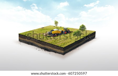 3d illustration of a soil slice, Collection of straw by a combine harvester in bales isolated on white background Stock fotó ©