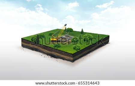 3d illustration of a soil slice, crawler crane, hoisting crane , building a house, on green meadow isolated on white background