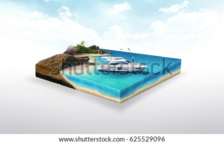3d illustration of a soil slice, Yacht on the beach, ocean traveling isolated on white background