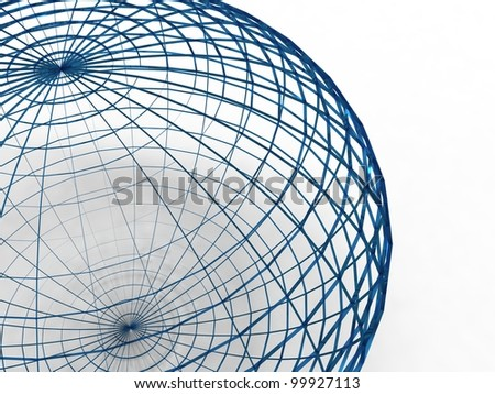 3d illustration of a sphere of wire blue on white background