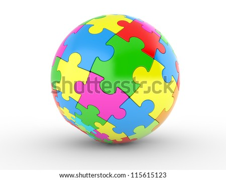 3d illustration of a spherical puzzle with color segments on a white background