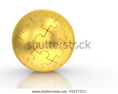 3d illustration of a spherical puzzle with gold segments on a white background - stock photo