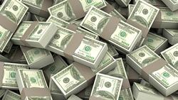 3D illustration of a stack of decks of money 100 dollars with beige stripe