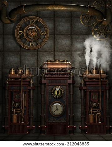 3d illustration of a steampunk...