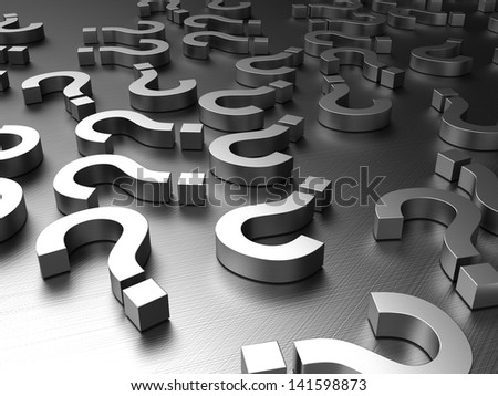 3d illustration of a steel question signs