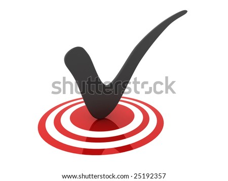 3D illustration of a tick on a glossy target.