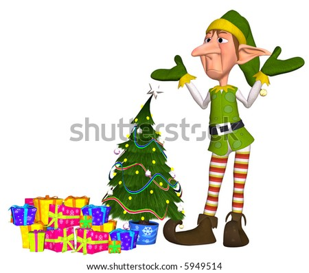 3d illustration of a tired christmas elf with lots of gift and a christmastree