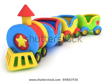 3D Illustration of a Toy Train