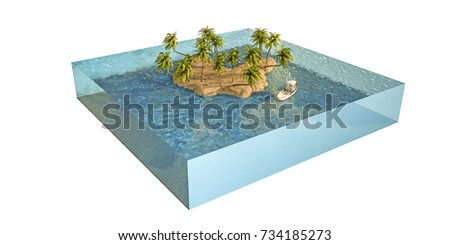 3d illustration of a tropical island isolated on white background