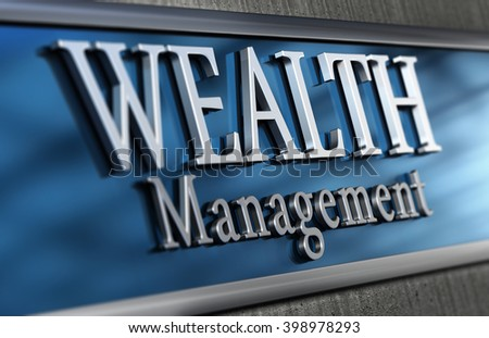 3d illustration of a wealth management company Close up of the facade with blur effect, blue and grey tones.