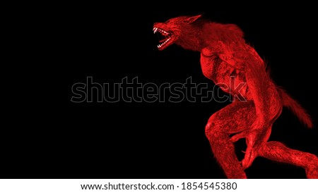 3d illustration of a Werewolf/Dogman roaring tinged in red Stockfoto ©