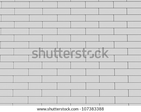 3d illustration of a white brick wall - stock photo