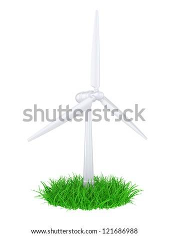 3d illustration of a wind generator  on a green grass