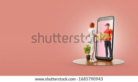 3d illustration of a woman receiving parcel from delivery service courier through smart phone screen. Delivery and post apps concept.