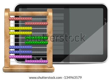 3d illustration of a wooden abacus and PC tablet / Now and before - stock photo