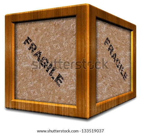 3d illustration of a wooden box with text spelling fragile on it / Fragile wooden box