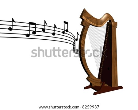 3d illustration of a wooden harp with notes on floating score on isolated background