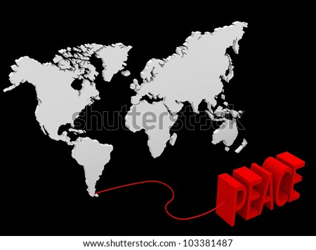 3d illustration of a world map connected to a peace word