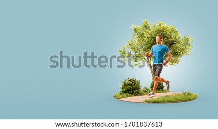 3d illustration of a young man jogging in a park. Jogging and running concept.