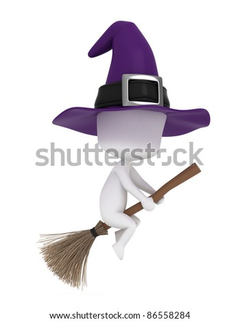 3D Illustration of a Young Witch Riding a Broomstick