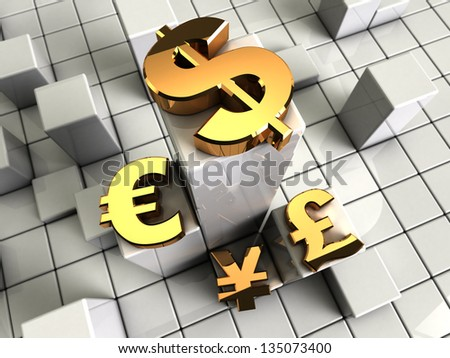 3d illustration of abstract bars background with currency symbols