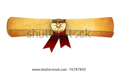 3d illustration of aged paper scroll isolated over white