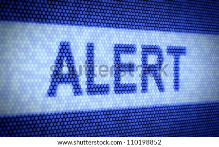 3d illustration of alert text on computer screen
