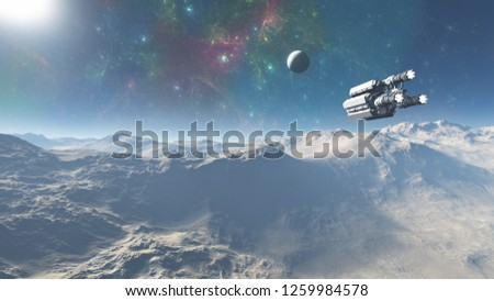 3D Illustration of  alien planet in space with nebula and stars. spacecraft in the alien planet,  alien planet with galaxies and stars in open space.spaceship flying over the alien planet mountains.