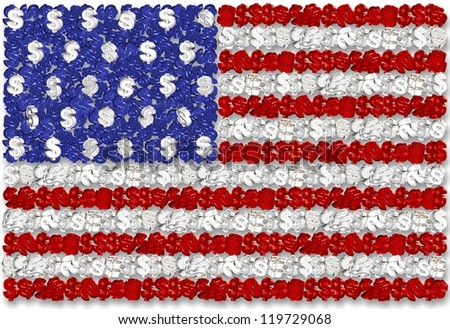 3D illustration of American flag made of many dollar symbols / USA flag and dollar