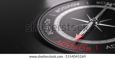 3D illustration of an abstract  compass over black background with needle pointing the text trusted advisor. Trustworthy financial advisory Concept Stock photo ©